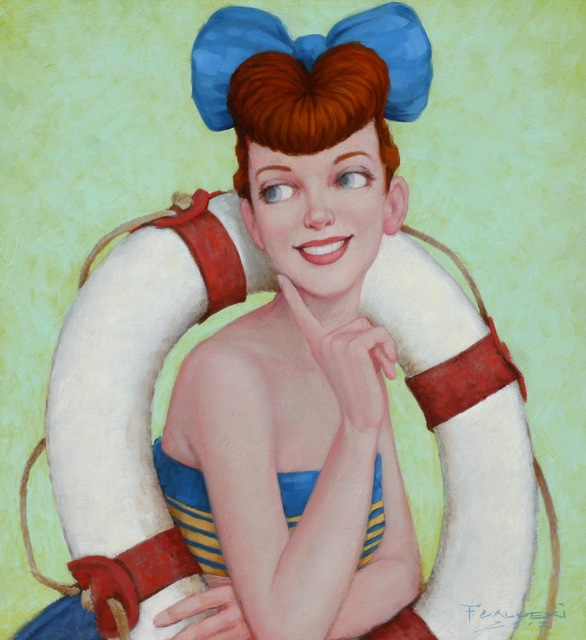 "Fred Calleri, '""Lifesaver"" oil painting of a redheaded pinup girl with a blue bow in a lifesaver', 2010-2017, Eisenhauer Gallery"