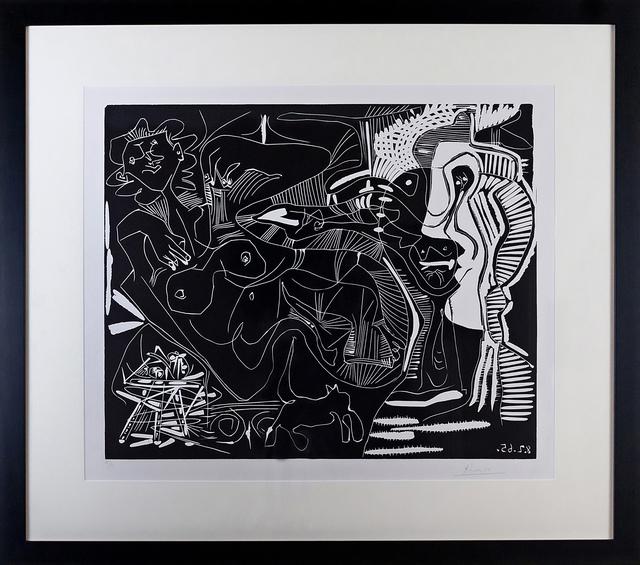 Pablo Picasso, 'Le Thé: Deux Femmes Nues et une Chat (B. 1851)', 1965, Print, Linocut, Vanessa Villegas Art Advisory