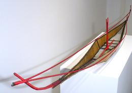 Arden Scott, 'red', 1998, Sculpture, Welded steel, wire mesh, and parchment thread, Kathryn Markel Fine Arts