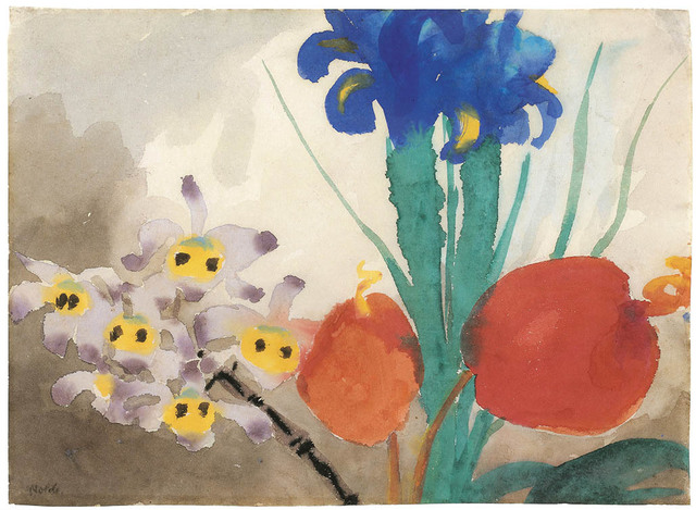 Emil Nolde, 'Orchids, Iris and Flamingo Flower', 1925-1930, Drawing, Collage or other Work on Paper, Watercolour on Japanese paper, Galerie Bei Der Albertina Zetter