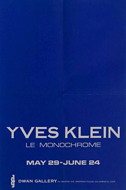 Yves Klein, 'YVES KLEIN LE MONOCHROME', 1961, Alpha 137 Gallery