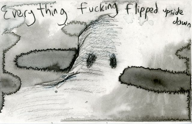 Jim Holyoak, 'Everything Fucking Flipped', year unknown, Drawing, Collage or other Work on Paper, India ink, bG Gallery