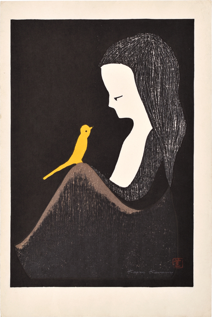 Kaoru Kawano, 'Girl with Yellow Bird', ca. 1958, Scholten Japanese Art
