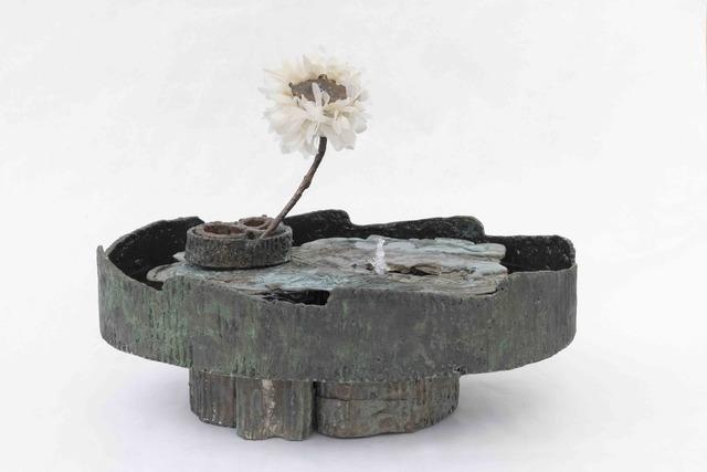 Nancy Lorenz, 'Small Fountain for Flowers', 2019, Sculpture, Bronze and silk, Gavlak