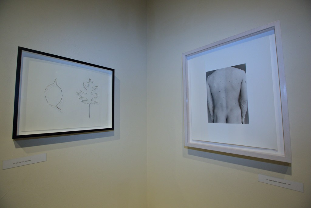 "ERIC RHEIN- Installation view, including ""Jeff & Tim"" a wire drawing from 2015, and ""Constellation Self portrait"", from 1993"