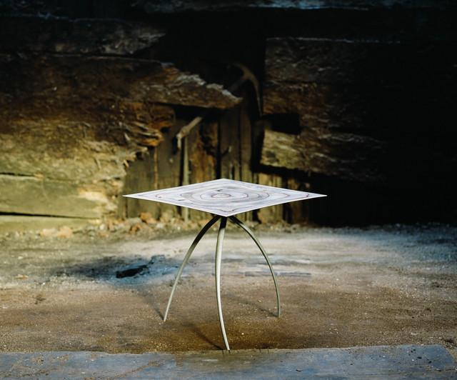Nicolas Cesbron, 'Tripod table (square)', 2019, Design/Decorative Art, Aluminum foot, plywood top, carved birch and varnish, Antonine Catzéflis