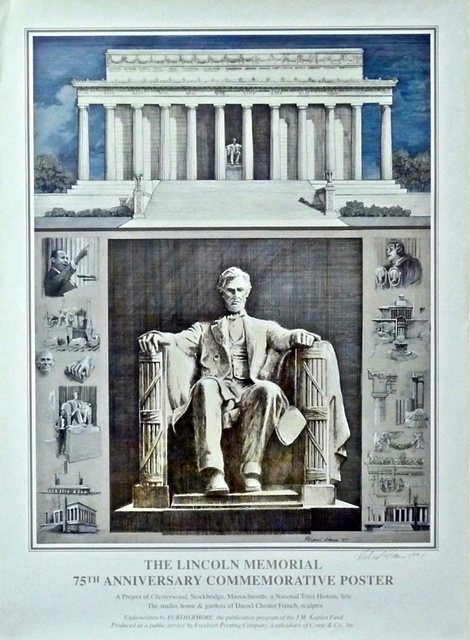 Richard Haas, 'Abraham Lincoln, 75th Anniversary Commemorative Poster of the Lincoln Memorial for Chesterwood, Stockbridge, Mass. (Hand Signed)', 1997, Alpha 137 Gallery