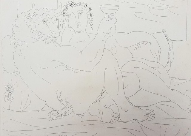 Pablo Picasso, 'Minotaure, une Coupe à la Main, et Jeune Femme (Minotaur, a Cup in Hand, and Young Woman)', 1933, Print, Etching, Graves International Art