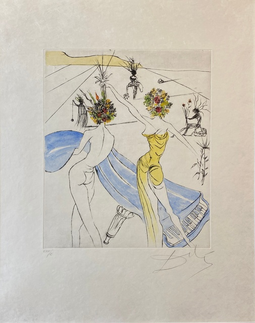 Salvador Dalí, 'Hippies Suite: Flower Women with Soft Piano - Femmes Fleurs au Piano ', 1969-1970, Print, Original drypoint etching hand-coloring on Japanese paper, Off The Wall Gallery