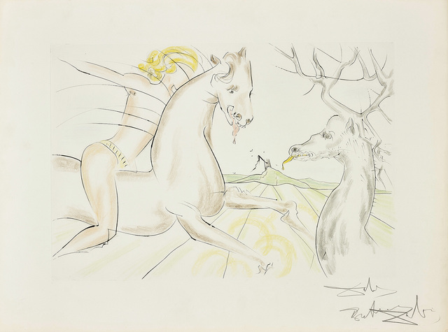 Salvador Dalí, 'Le Cheval qui voulait se venger du cerf, from Le Bestiaire de La Fontaine Dalinisé (The Horse that Wanted Revenge on the Stag, from La Fontaine's Bestiary Dalinized)', 1974, Phillips