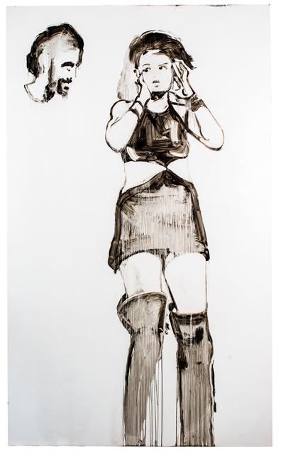 , 'Black stallions pull my chariot,' Oil on aluminium, Arusha Gallery
