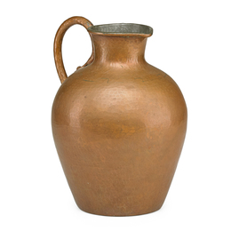 Hammered copper pitcher with tin interior