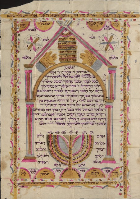 , 'Aleph, childbed amulet and circumcision certificate, Ioannina,' 1910, Jewish Museum of Greece
