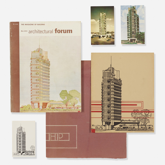'collection of Price Tower ephemera', 1956, Wright
