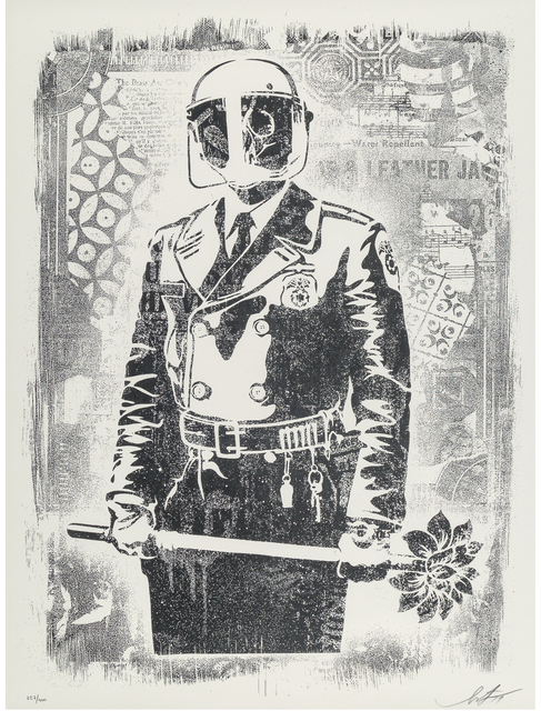 Shepard Fairey (OBEY), 'Damaged Stencil Series: My Florist Is A Dick', 2017, Taglialatella Galleries