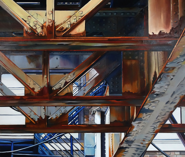 , 'Blue Stairs Under the El,' 2017, Nicole Longnecker Gallery