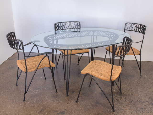 , 'Salterini Woven Ribbon Chairs and Table Patio Set,' ca. 1950, Open Air Modern