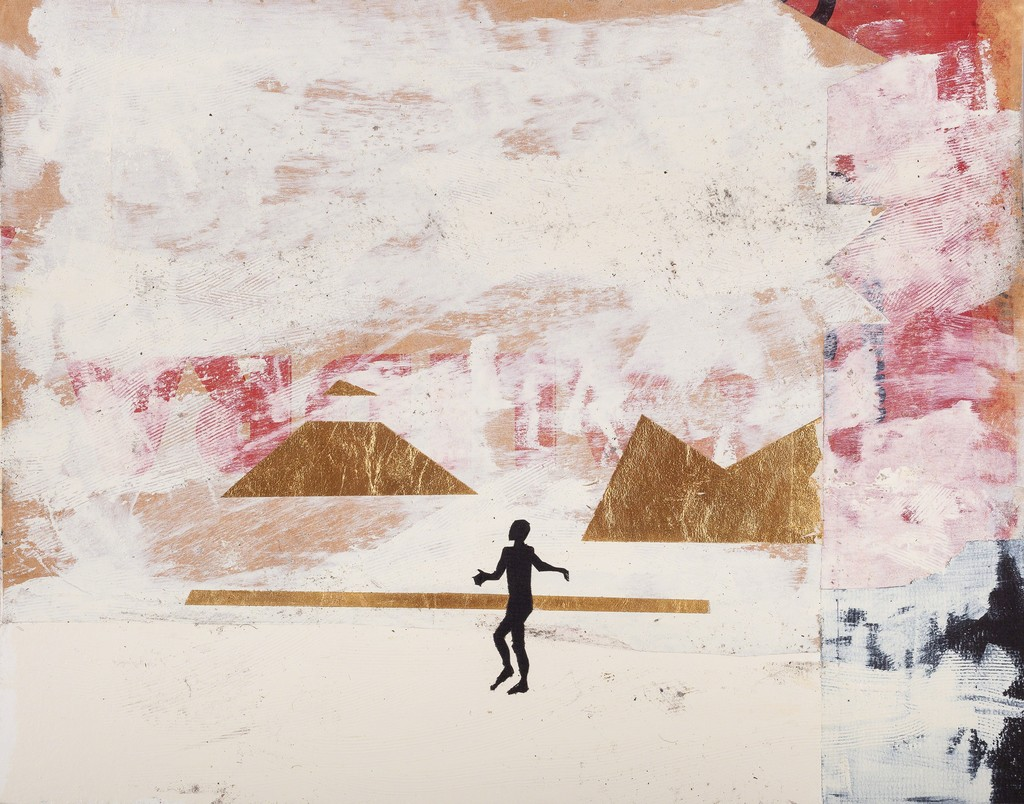 """Onajide Shabaka. Black Figure - Visitor, 2017. Mixed media collage on paper with gold leaf. 14.5 x 17.5 x 1.75 inches framed. View individual work under """"artworks"""" tab."""
