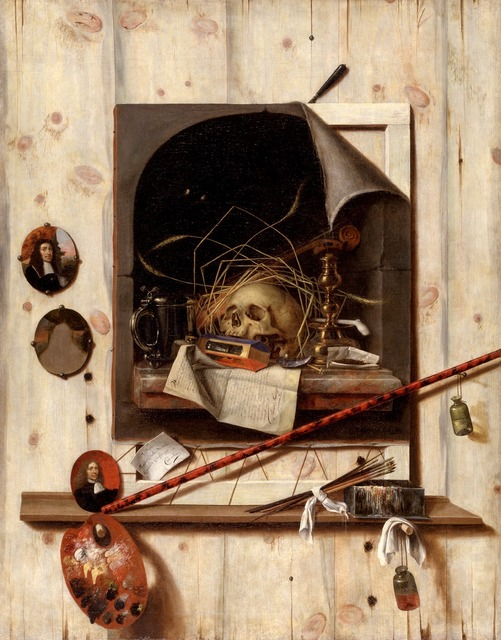 , 'Trompe l'oeil with Studio Wall and Vanitas Still Life ,' 1668, Statens Museum for Kunst