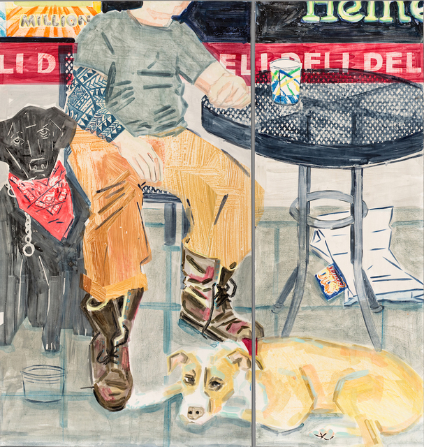 Stella Ebner, 'Deli bag and lottery ticket (Gutter punk with his dogs)', 2019, Cade Tompkins Projects