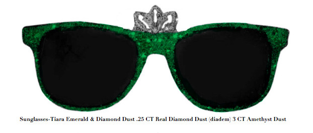 , 'Sunglasses-Tiara Emerald & Diamond Dust .25 CT Real Diamond Dust (diadem) 3 CT Amethyst Dust,' , ART CAPSUL