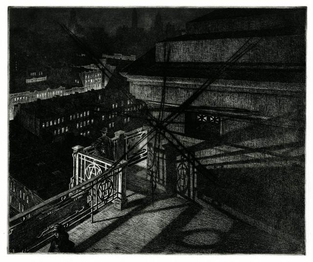 , 'East Side Night, Williamsburg Bridge,' 1928, Thomas French Fine Art