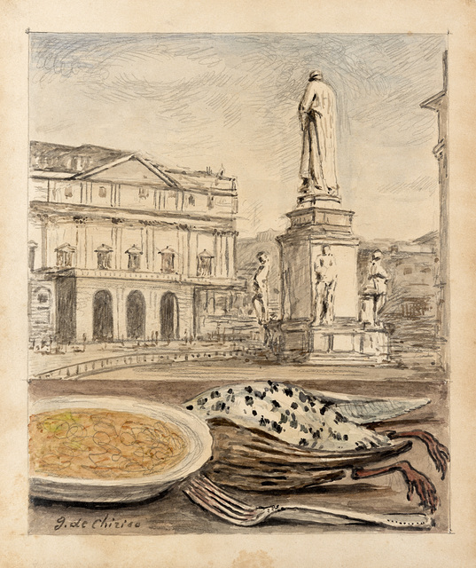 Giorgio de Chirico, 'Veduta di Milano con risotto e cacciagione', 1966, Il Ponte