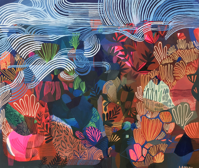 Ashley Amery, 'Under the Waves', 2018, Painting, Gouache on paper, Rebecca Hossack Art Gallery