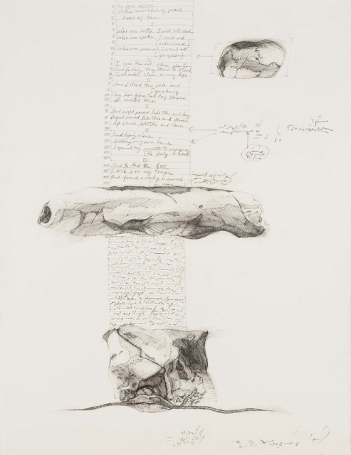 Barbara Chase-Riboud, 'Column-Poem', 1972, Drawing, Collage or other Work on Paper, Charcoal and charcoal pencil on paper, Michael Rosenfeld Gallery
