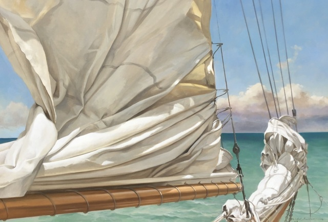 ", '""Top of the Day"" Oil painting of ruched sail with green and blue ocean behind,' 2019, Eisenhauer Gallery"