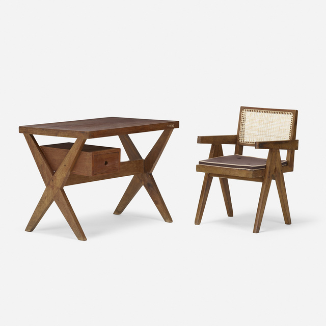 Pierre Jeanneret, 'desk and chair from Chandigarh', c. 1960, Design/Decorative Art, Teak, cane, upholstery, Rago/Wright