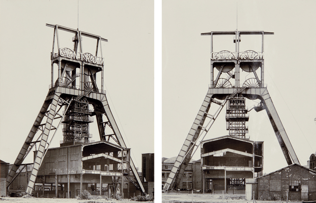 Bernd and Hilla Becher, 'Winding Towers', 1972, Photography, Two gelatin silver prints, mounted together as a diptych, Phillips