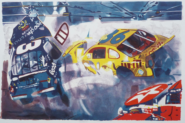 Malcolm Morley, 'Death of Dale Earnhardt II', 2005, Print, Lithograph on Rives BFK 350gm paper, ClampArt