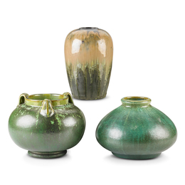 Three Vases (One Prang), Leopard Skin Crystalline, Cucumber Green and Experimental Flambé Glazes, Flemington, NJ