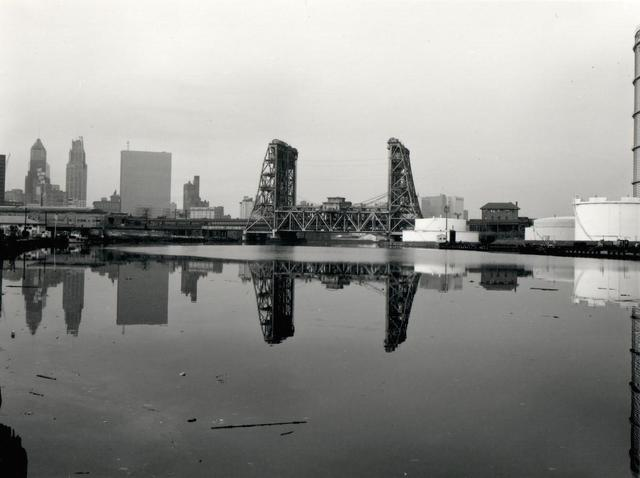 , 'Newark, Amtrak-PATH Bridge, Gas Tank, from the Passaic River,' 1982, L. Parker Stephenson Photographs