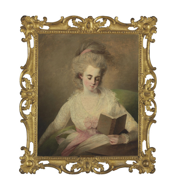 , 'A young lady in a white dress with pink bows, seated at a table, reading a book,' , Christie's Old Masters