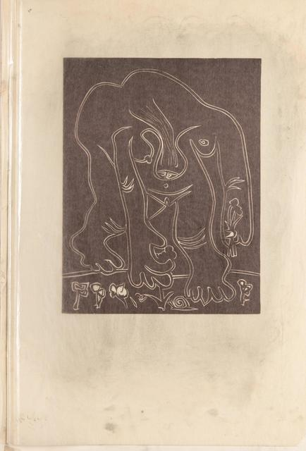 Pablo Picasso, 'Femme Nue Cueillant des Fleurs (first and third state)', 1962, Print, Two linocuts, the first state with glassine overlay including graphite additions, Hindman