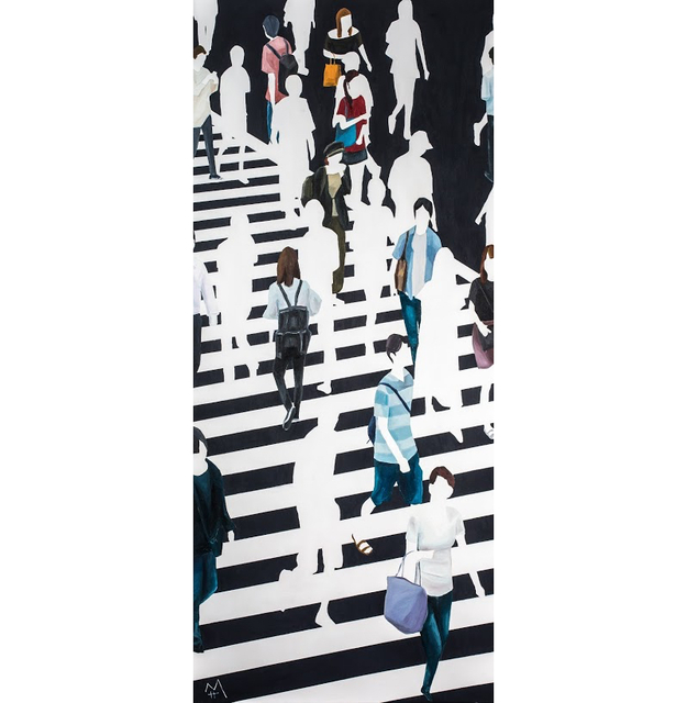 "Martta García Ramo, '""La Chica De Amarillo"" oil painting of pedestrians walking on black and white crosswalk', 2019, Eisenhauer Gallery"