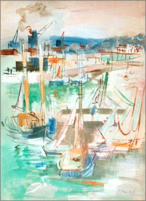 Jean Dufy, 'Honfleur, le quai de la Planchette et le jetee de Transit', 1939, Painting, Gouache, Puccio Fine Art