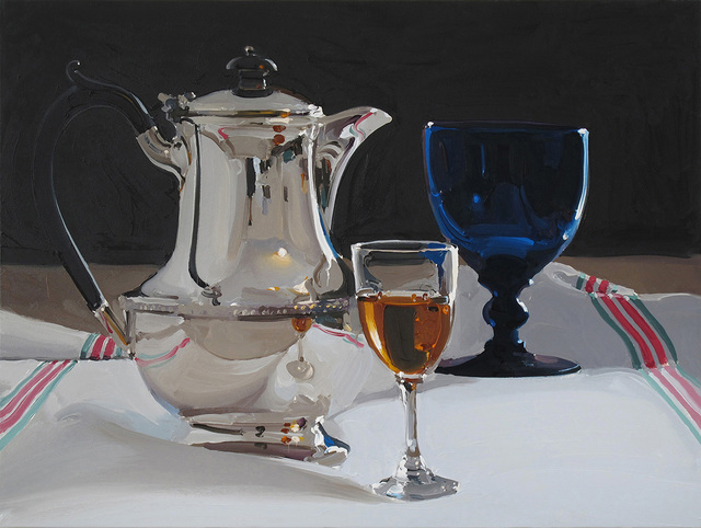 , 'Coffee Pot With Blue Glass and Wine,' 2018, Absolute Art Gallery