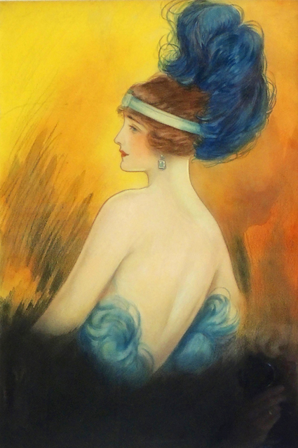 Clara Peck, 'Flapper Era Woman with Feathered Headdress', 1920-1929, The Illustrated Gallery
