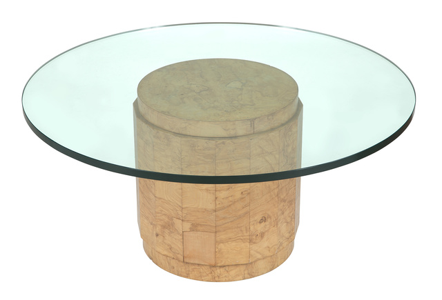 'Edward Wormley for Dunbar Glass and Olive Burl Wood Low Table Model #6302G, with paper label', Doyle