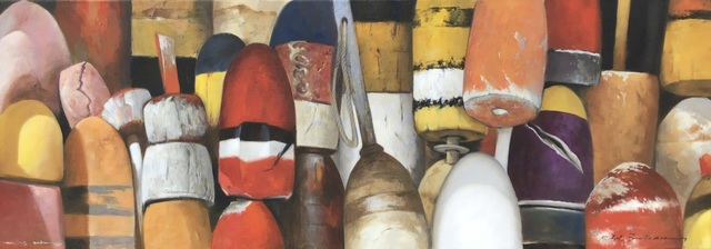 ", '""Buoys in October"" Oil painting of red, orange, yellow and black buoys,' 2019, Eisenhauer Gallery"