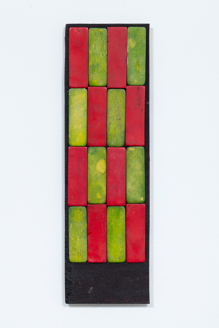 Luis Romero, 'Damero Largo (Rojo y Verde)', 2019, Painting, Dyed bones on wood, Kupfer