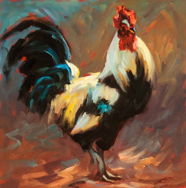", '""Walking Tall"" oil painting of a Chicken in Light Yellow and Deep Blue, Red,' 2010-2017, Eisenhauer Gallery"
