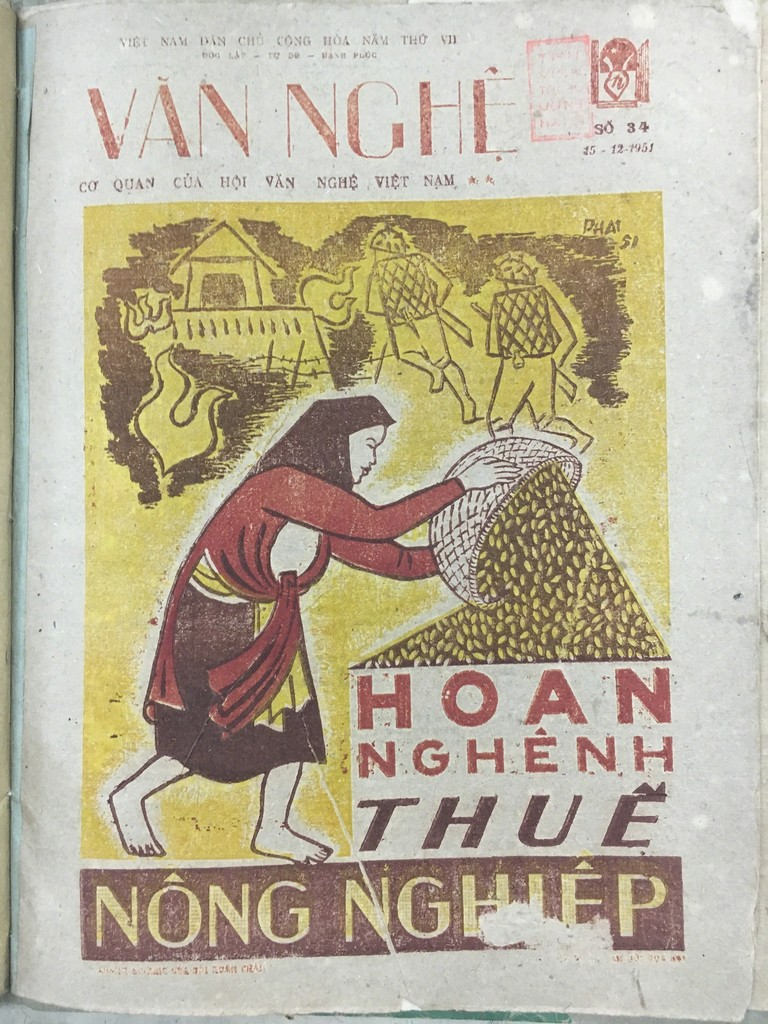 Image: Cover of Văn Nghệ, issue 34, 15 December 1951, with illustration by Bùi Xuân Phái. Collection of National Library of Vietnam, Hanoi.