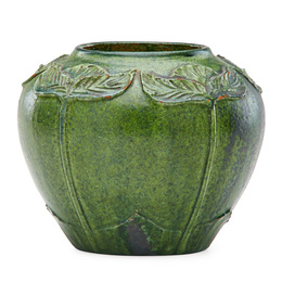 Vase with carved and applied leaves, crystalline green glaze, Newburyport, MA
