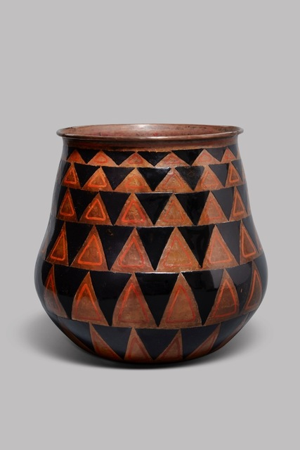 , 'Enameled, hammered copper vase with a wide-mouth rim and a pattern of triangles, in red and black lacquer,' ca. 1925, DeLorenzo Gallery