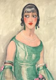 Portrait of a woman in green dress and pearls