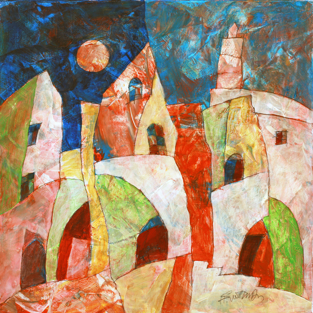 Harry Guttman, 'Full Moon Village', 2011, Painting, Acrylic On Canvas, Blue Gallery
